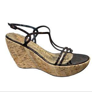 Stuart Weitzman Black Strap Wedge Sandals Size 8.5
